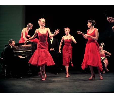 Four unident. models in red dresses dancing Charleston for article featuring the little red dress Sculpture By Picasso 1950 © Gjon Mili