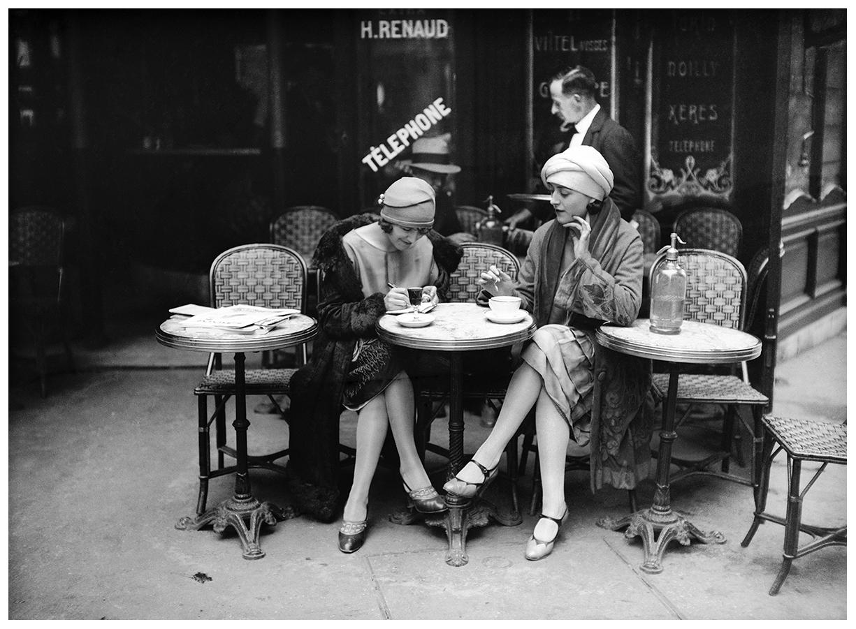 cafe terrace paris 1925 pleasurephoto. Black Bedroom Furniture Sets. Home Design Ideas