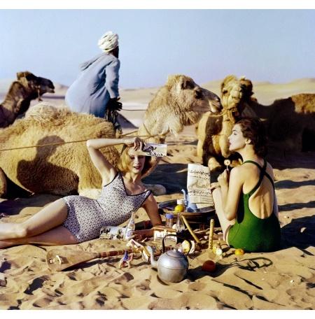 Tatiana + Marie Rose + Picnic + Camels, Morocco, 1958