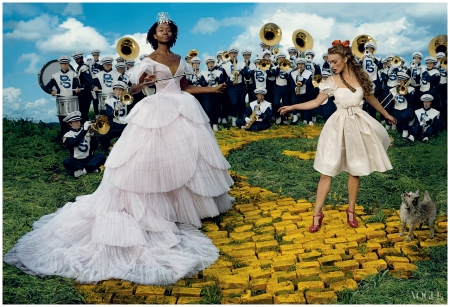 Annie Leibovitz, Vogue, December 2005 Re-creating The Wizard of Oz Keira Knightley as Dorothy and Kara Walker as The Good Witch