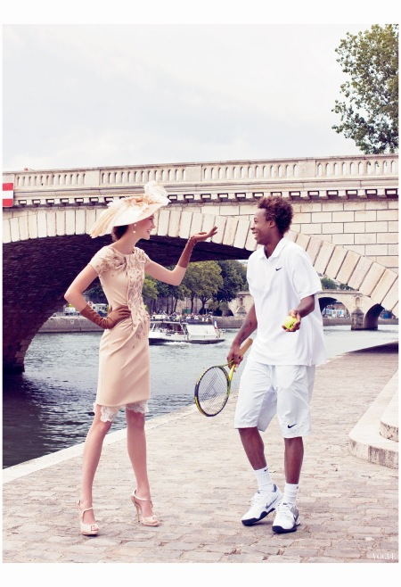 Karlie Kloss and Gaël Monfils  Vogue, October 2009 Photo Arthur Elgort