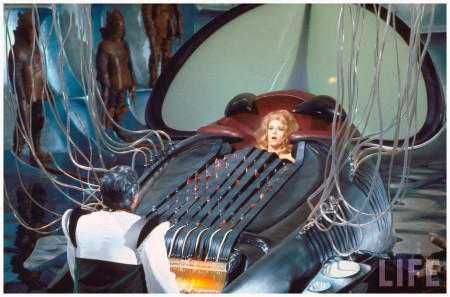 "Actress Jane Fonda trapped in the Excessive Machine which kills its victim by pleasure during a torture chamber scene from Roger Vadim's motion picture ""Barbarella."""