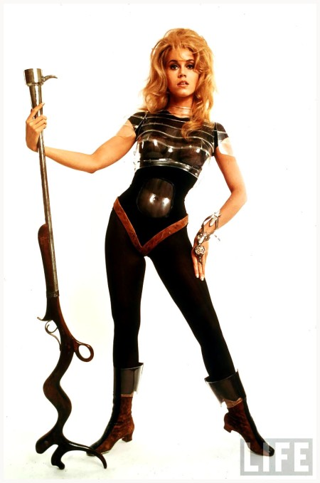 "Actress Jane Fonda, wearing space-age costume in publicity still from Roger Vadim's film ""Barbarella."" Carlo Bavagnoli 1967"