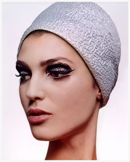 Photo Bert Stern 1964 Woman in Halston Hat Model wearing lace shadowed eye, with Brussels lace and cap by Halston