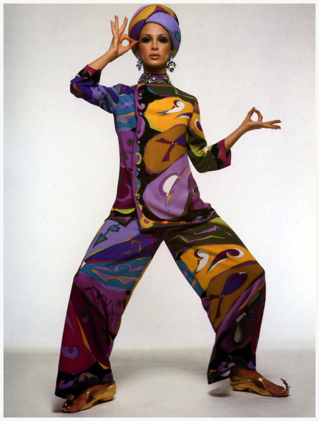 Diane in pants and top with matching scarf wrapped in a turban by Pucci, photo by Gian Paolo Barbieri