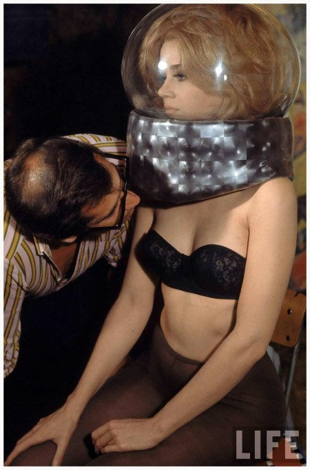 "Director Roger Vadim and Jane Fonda working on movie ""Barbarella"" near Rome. Photo Carlo Bavagnoli"