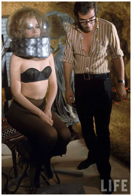 "Director Roger Vadim and Jane Fonda working on movie ""Barbarella"" near Rome.1 967"