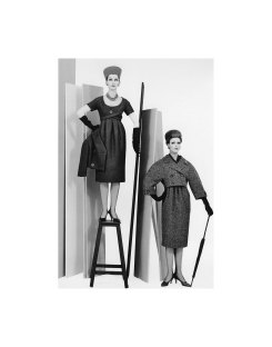 Dovima and Betsy Pickering in dresses and jackets from Dior's (YSL) Autum:Winter collection 1958, Courbe Line, photo by Avedon, Paris studio, August 1958