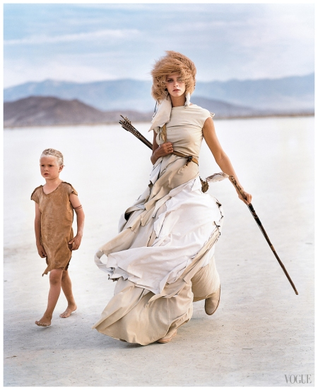 A Madly Max model Carmen Kass in the desert, wearing Yohji Yamamoto 2000
