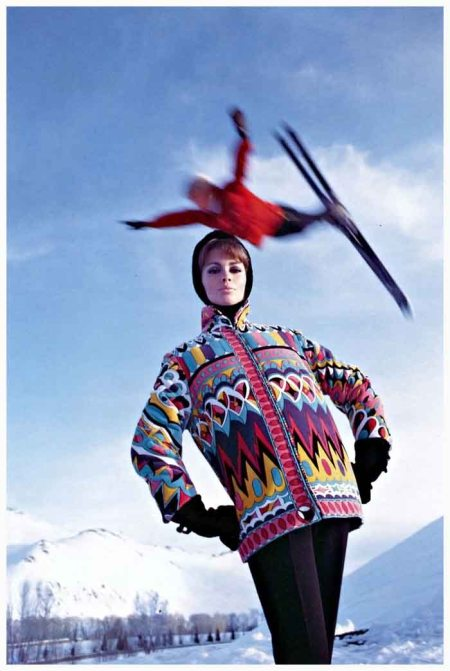 Astrid Heeren in ski jacket by Pucci, photo by Peter Beard, American Vogue, 1964