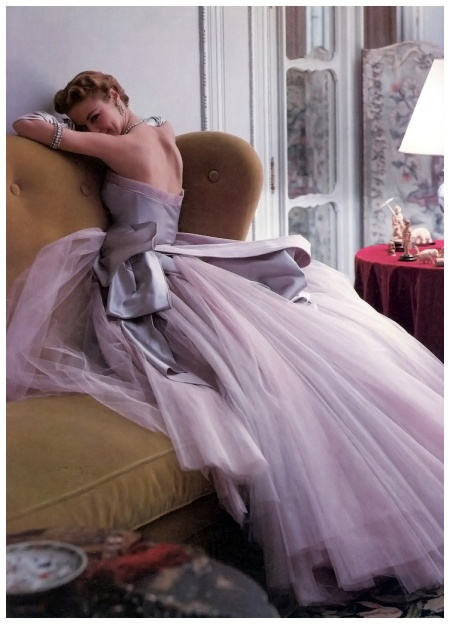 Jean Patchett in evening gown by Jean Dessès from his Spring collection, photo by Norman Parkinson, 1950