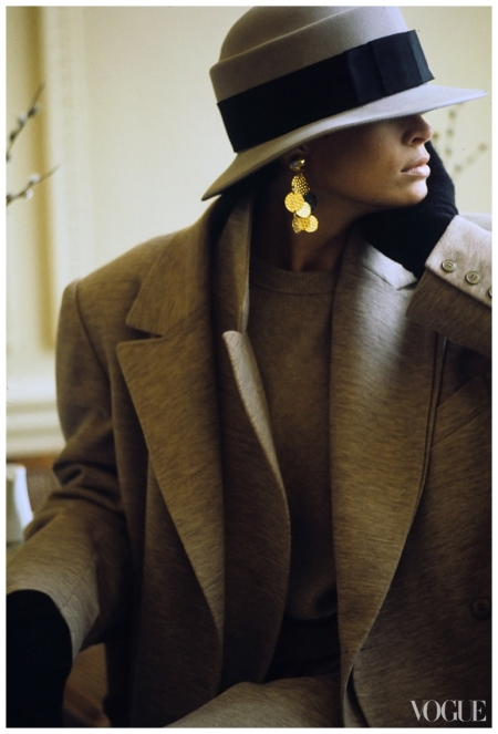 Kim Williams in Sonia Rykiel's tweedy wool jersey coat.Photographed by Arthur Elgort for Vogue, July 1984