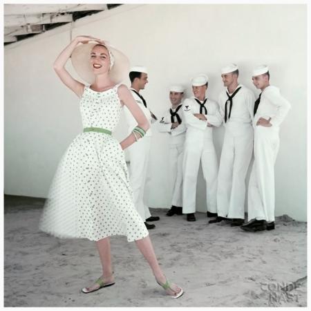 Model in Sundress with Sailors. 1954. Leombruno-Bodi