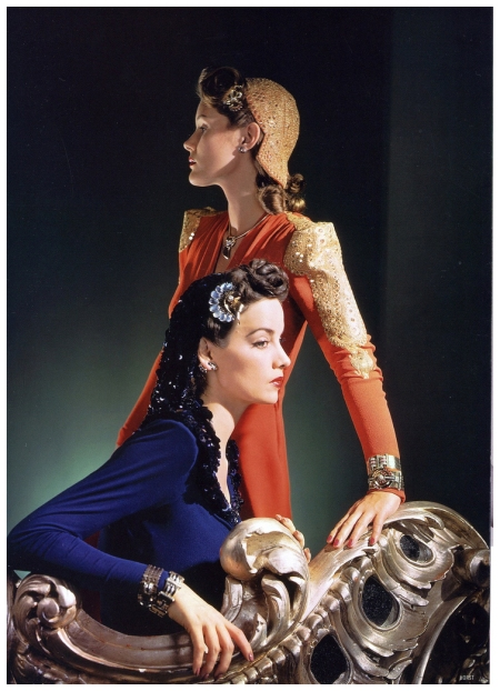 Models are wearing dresses and matching caps by Nettie Rosenstein and jewelry by Tiffany's, photo by Horst, Vogue, Nov. 1, 1940