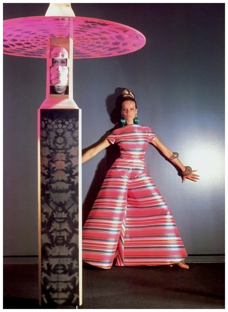 Veruschka in made to order striped silk palazzo pajama jumpsuit by Scaasi, sculpture by Marisol, Photo Horst P.Horst, 1966
