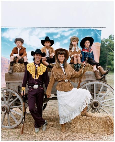 "Vogue, November 2002 Carmen Kass captures Ralph Lauren's ""Spirit of the Prairie.""Photographed by Arthur Elgort"