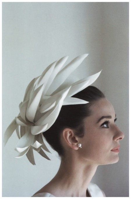 Audrey Hepburn wearing hat and dress designed by Givenchy, photo by Howell Conant (for a fashion editorial) at her house in Switzerland, in February 1962 b