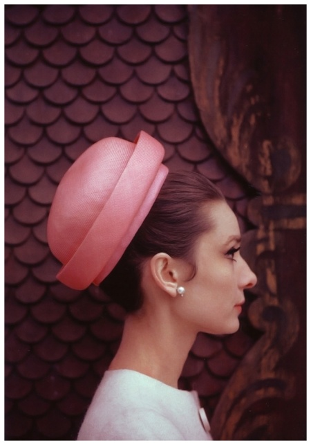 Audrey Hepburn wearing hat and dress designed by Givenchy, Photo Howell Conant (for a fashion editorial) at her house in Switzerland, in February 1962