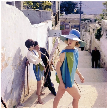 Celia Hammond in summer smock by Gottex, hat by Christian Dior Chapeaux, Photo Eugene Vernier in the picturesque town of Safed, Israel, Vogue UK, July 1962