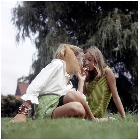 Cigarette Teen smoking in the grass 1969