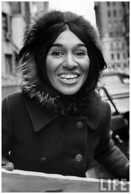 Cree Indian folk-singer Buffy Sainte-Marie, while in New York 1965 Photo Arthur schatz