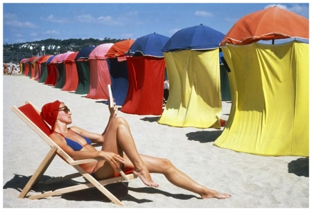 Dennis Stock:Magnum Photos Beach and woman France deuville