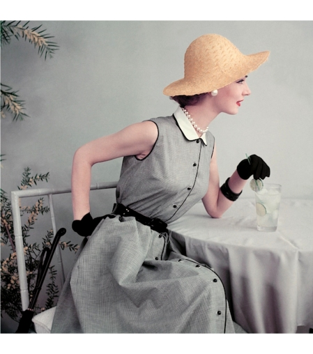 Janet Randy in black and white gingham dress with pique collar, gloves and straw hat, Glamour June 1952