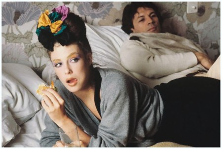 Kelly LeBrock eating in bed