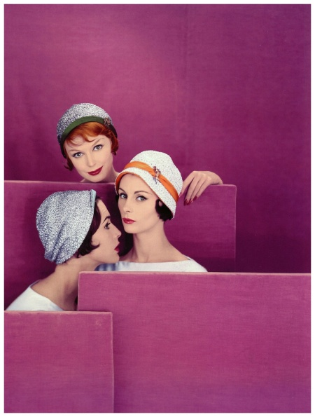 Models in hats of gold or silver straw, lined, cuffed or banded in different colors by Otto Lucas, photo by Vernier, Vogue UK, March 1959
