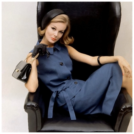 Monique Chevalier wearing blue dress in Moygashel Irish linen by Sloat, black patent handbag by MM, kid gloves by Aris and Beret by Emme, 1962 Sante Forlano