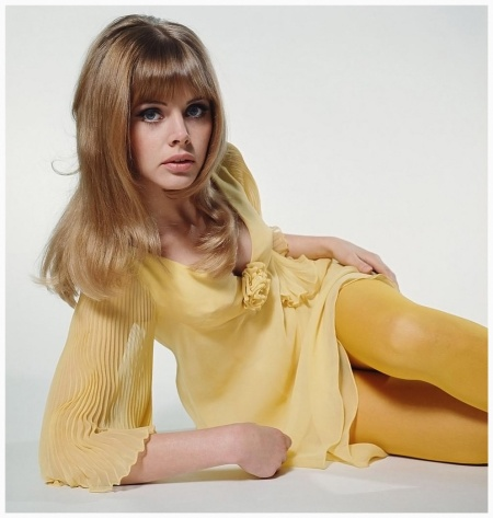 Swedish actress Britt Ekland in a yellow dress and matching tights, circa 1967 Photo by Terry O'Neill