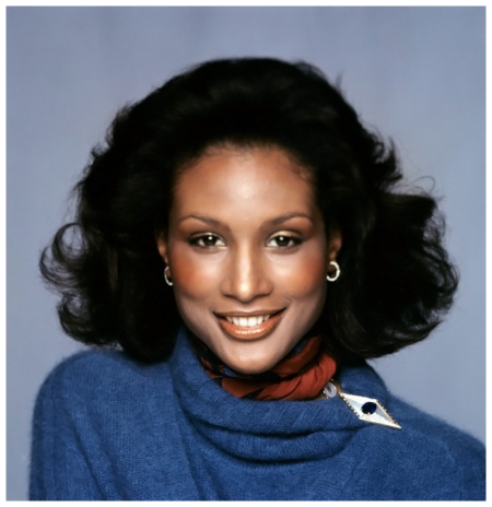 August 1974  Portrait of Beverly Johnson in wool-angora cardigan by Kasper and Bulgari diamond loop earrings.Image by Francesco Scavullo Conde Nast Archive