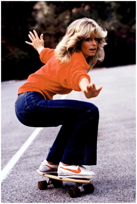 Former Charlie's Angel Farrah Fawcett wore her denim at its youthful breezy best and made fitted flared jeans de rigour for all Seventies girls