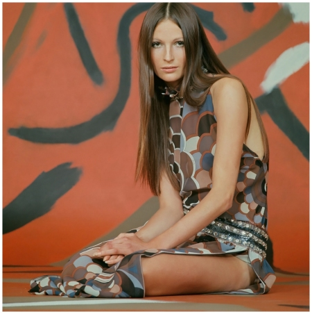 Model Wearing Patterned Chiffon Outfit by Pucci 1970 Photo Franco Rubartelli