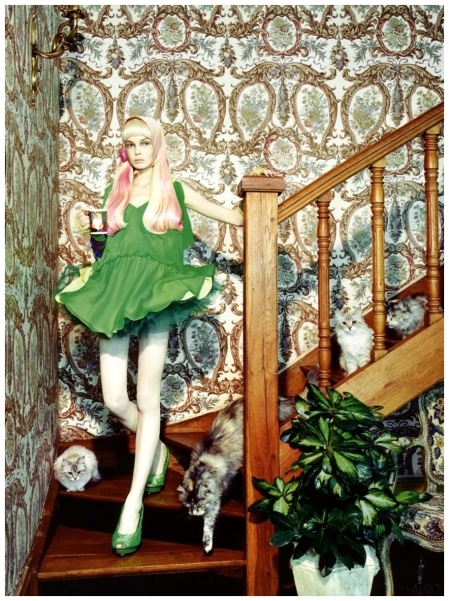 """Siri Tollerød in """"The Vagaries of Fashion"""" photographed byMiles Aldridge for Vogue Italia, May 2008"""
