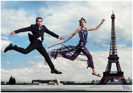 Stella Tennant in Chanel Haute Couture with Ben Stiller Photographed by Annie Leibovitz, Vogue, October 2001