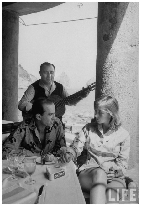 Fashion designer Emilio Pucci (L) relaxing with his bride and favorite guitaris 1960 D Lees Florence