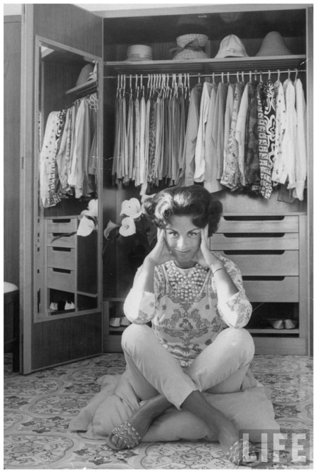 Fashion designer Princess Irene Medici at her home wearing outfit by fellow designer