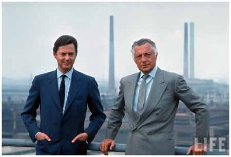 Pres. of Fiat Gianni Agnelli (R) standing w. brother, Umberto Agnelli David Lees 1969