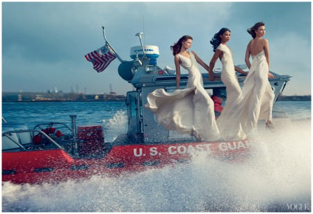 Storm Troupers - Photographed by Annie Leibovitz, Vogue, February 2013 Karlie Kloss, Kasia Struss Joan Small