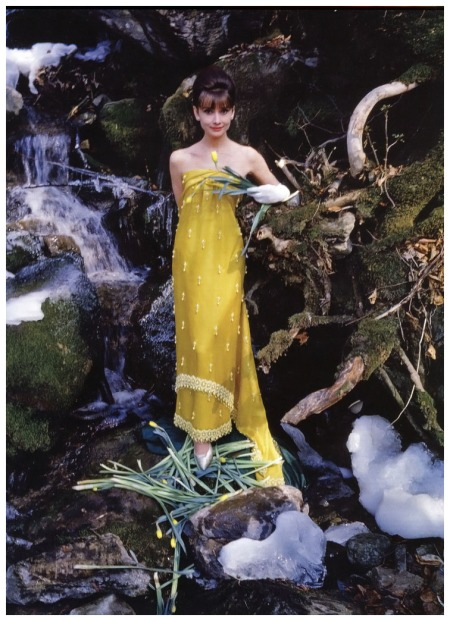 This Indian-inspired slim yellow silk column with white beading is Audrey's favorite of Givenchy's spring collection, photo by Howell Conant for Life magazine, May 1962