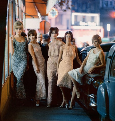 Ondine and Ciel de Feu dresses (third and fourth models from the left), from the Autumn-Winter 1961 haute-couture collection