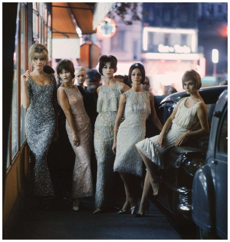 Photo Mark Shaw in Paris for Life's Fall 1961 issue, this image shows models wearing beaded dresses from Ferreras, Matta, Dior ( 2 dresses long and short) and Desses