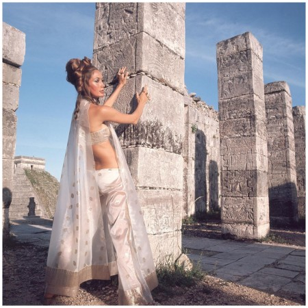 Henry Clarke - a model against the backdrop of Chichen-Itza's Warrior Temple, Mexico, in 1968