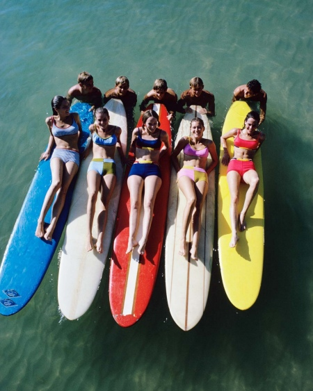 William Connors photograph 5 models in multi-colored Jantzen bikinis on surfboard 1966