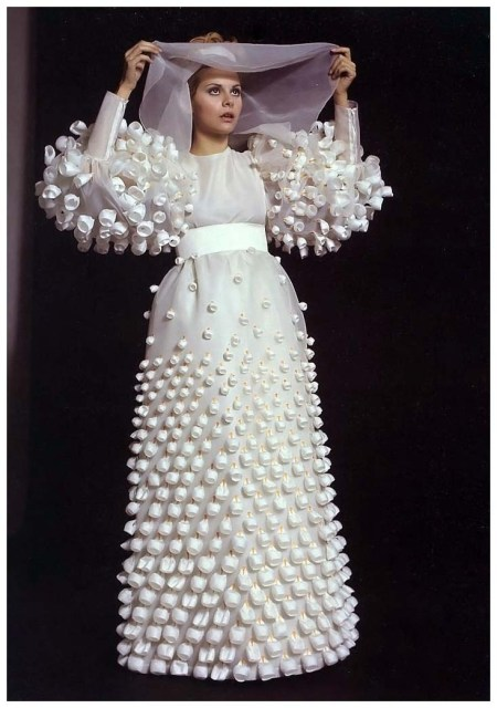 Italian actress Silvia Dionisio in wedding gown by unidentified designer, photo by Pierluigi Praturlon Rome, 1975