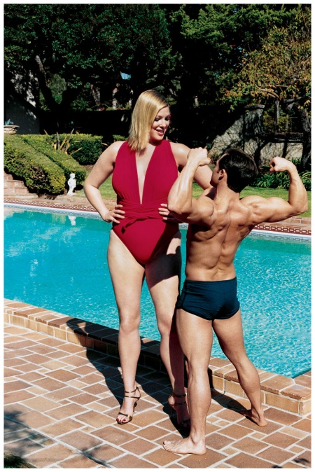 Model Kate Dillon and Bodybuilder Photo Helmut Newton, VOGUE, 2002