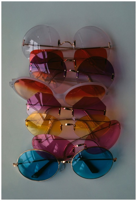 Sunglasses in an array of colors, with no-frames, all by Riviera