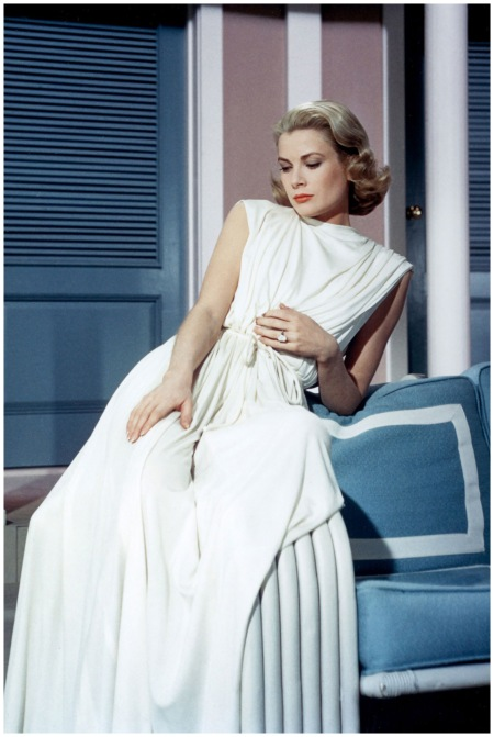 Actress Grace Kelly poses for a portrait circa 1950 in the United States of America. (Photo by A787:Gamma-Rapho via Getty Images) 1950 us Grace Kelly in the 'Goddess Dress' from the 1956 film 'High Society'