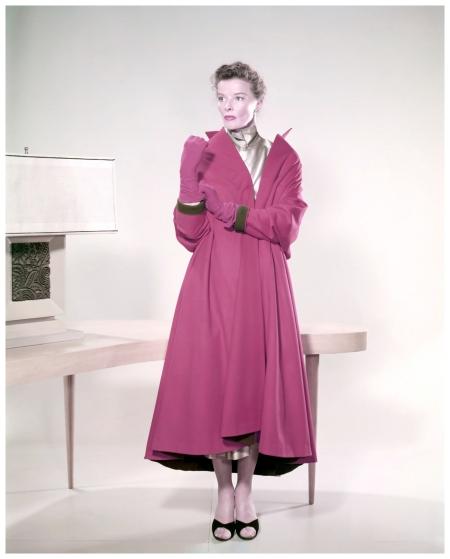 American actress Katharine Hepburn wearing a pink coat and matching gloves, circa 1955